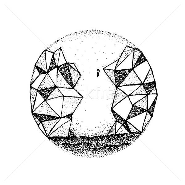 Dotwork Polygonal Rock Mountain Stock photo © Anna_leni