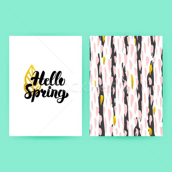 Hello Spring 80s Style Poster Stock photo © Anna_leni