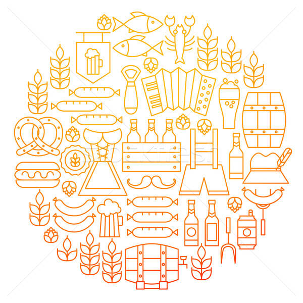 Oktoberfest Line Icon Circle Design Stock photo © Anna_leni