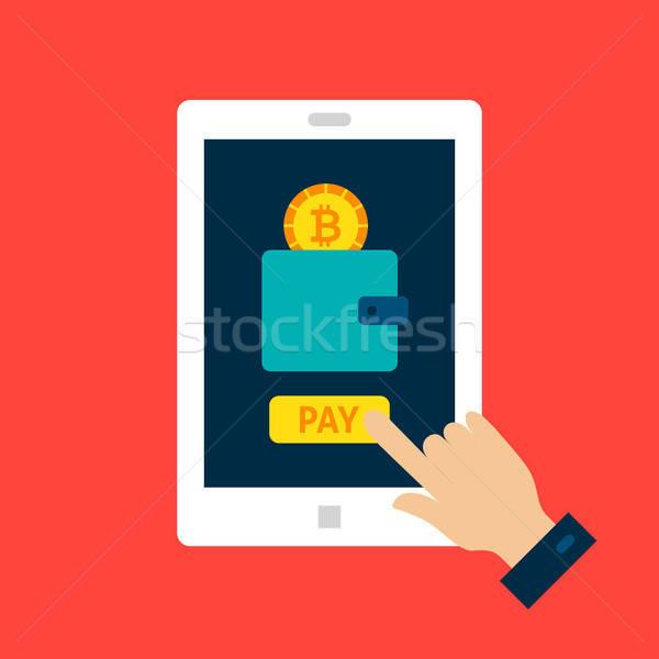 Bitcoin tablet finansal teknoloji iş Stok fotoğraf © Anna_leni