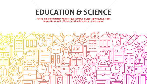 образование науки линия веб-дизайн баннер шаблон Сток-фото © Anna_leni