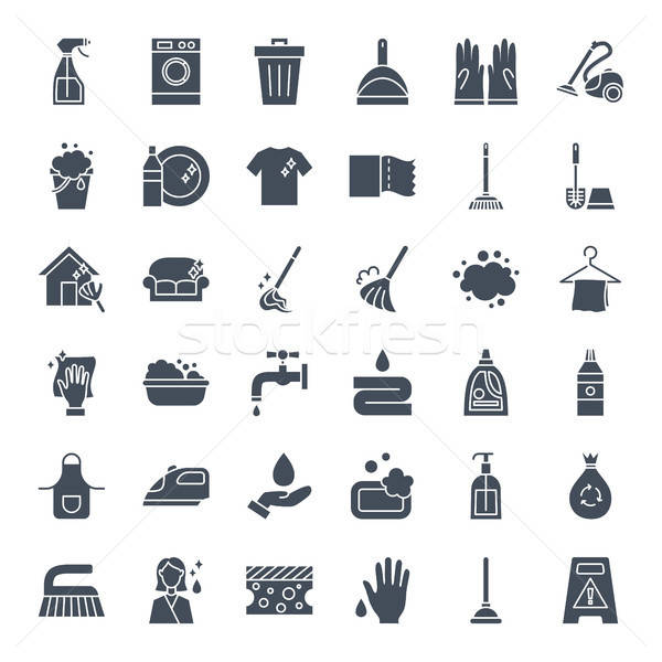 Cleaning Solid Web Icons Stock photo © Anna_leni