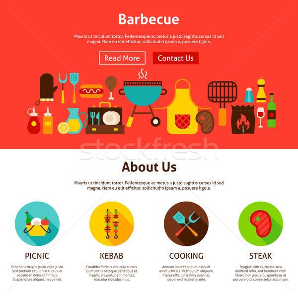 барбекю веб-дизайна стиль сайт баннер посадка Сток-фото © Anna_leni