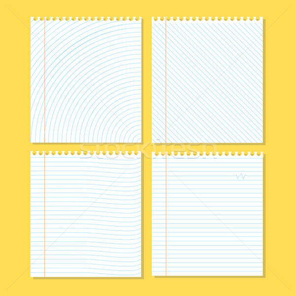 Four different pieces of paper on a yellow Stock photo © Anna_leni