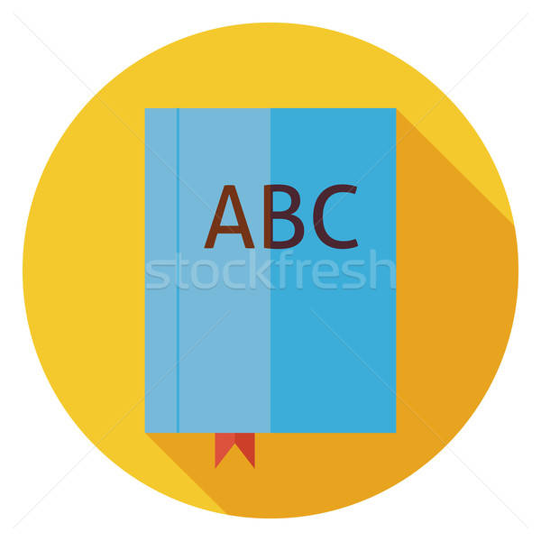Flat Reading Book with Bookmark Circle Icon with Long Shadow Stock photo © Anna_leni