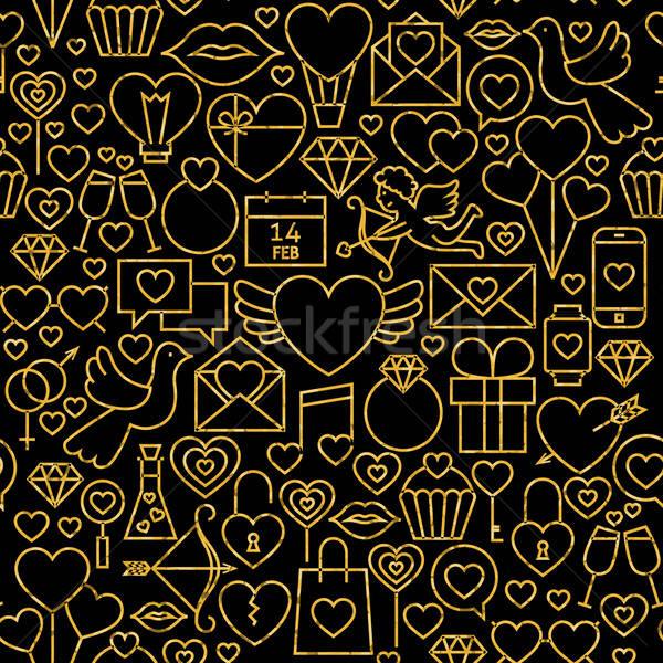 Sottile line oro nero san valentino Foto d'archivio © Anna_leni