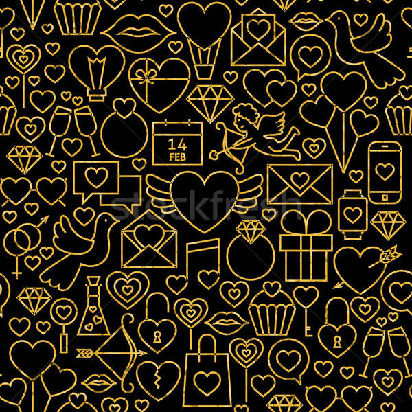 Thin Line Gold Black Valentine`s Day Seamless Pattern Stock photo © Anna_leni