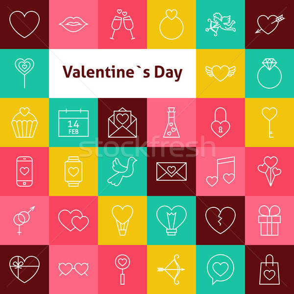 Vector Line Art Valentine Day Icons Set Stock photo © Anna_leni