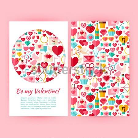 ストックフォト: スタイル · サークル · ベクトル · セット · 幸せ · バレンタイン