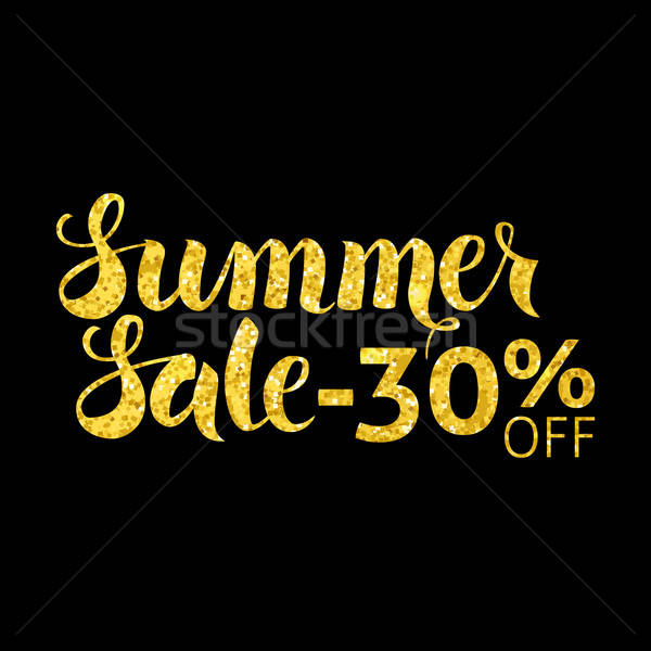 Gold Summer Sale 30 Off Lettering Black Stock photo © Anna_leni