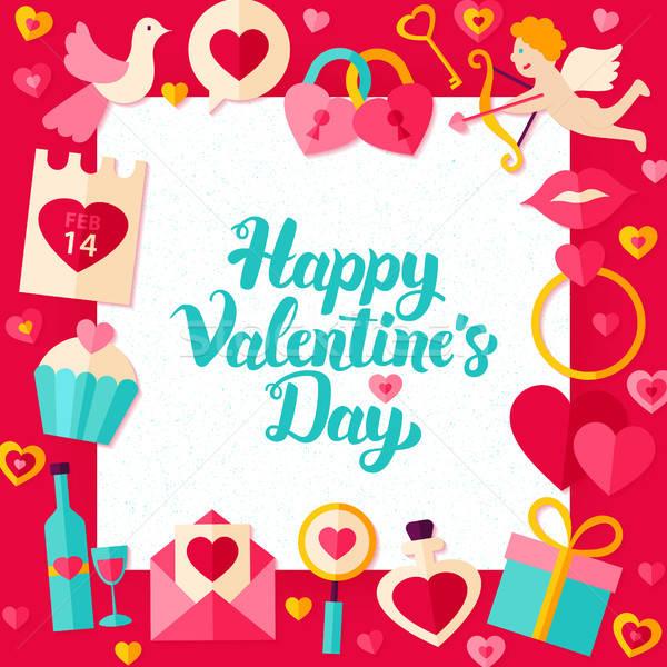 Boldog Valentin nap nap papír sablon stílus Stock fotó © Anna_leni