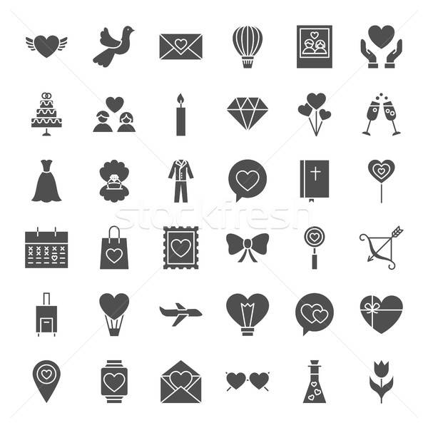Amor corazón sólido iconos de la web vector colección Foto stock © Anna_leni