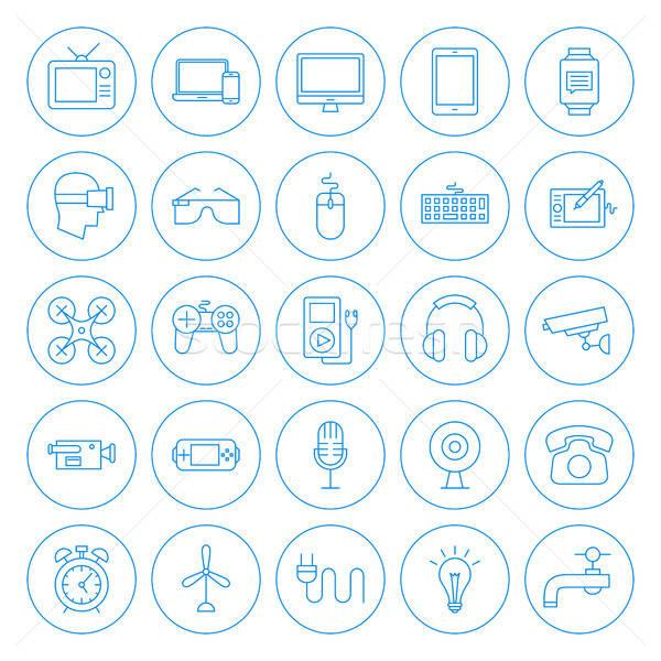 Line kółko gospodarstwo domowe ikona urządzenia Zdjęcia stock © Anna_leni