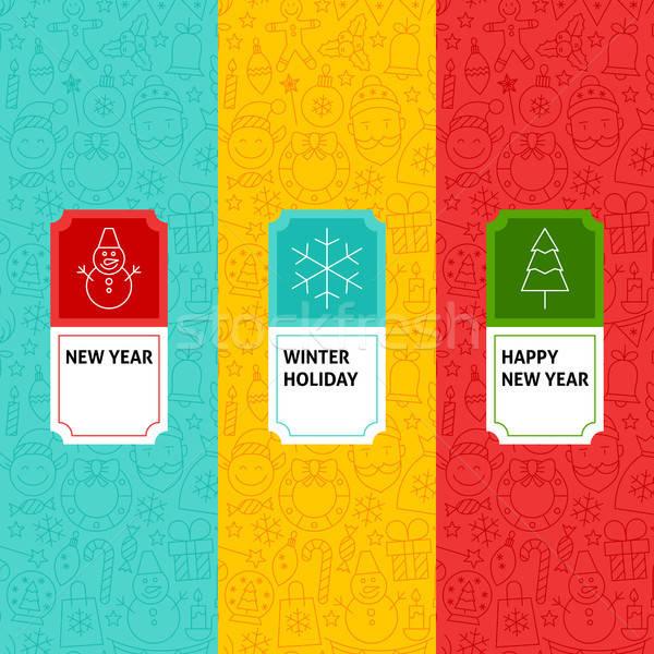 Line New Year Patterns Set Stock photo © Anna_leni