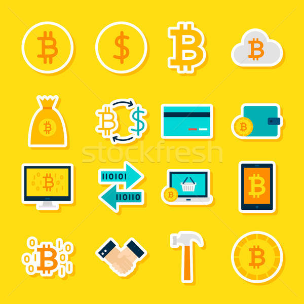 Currency Bitcoin Stickers Stock photo © Anna_leni