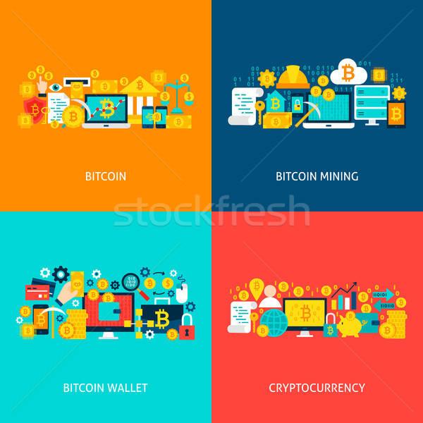 Bitcoin vettore concetti poster design set Foto d'archivio © Anna_leni