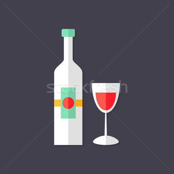 бутылку вина стекла Рождества икона иллюстрация продовольствие Сток-фото © Anna_leni