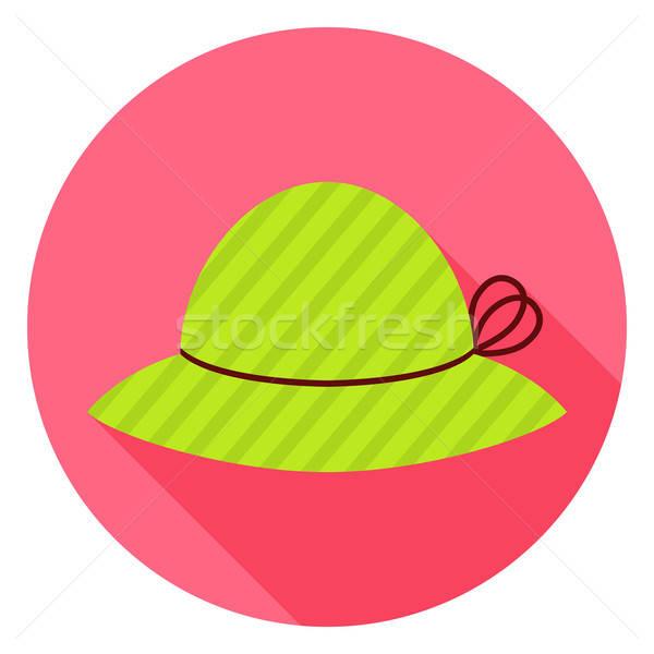 Flat Fashion Hat Circle Icon with Long Shadow Stock photo © Anna_leni