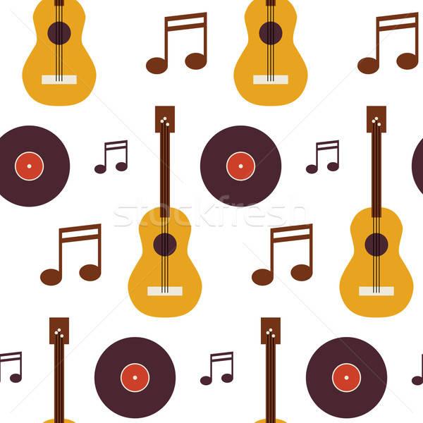 Muziek vinyl schijf gitaar niet Stockfoto © Anna_leni