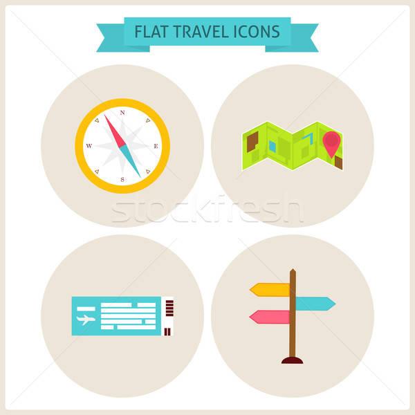 Utazás weboldal ikon szett kör ikonok háló Stock fotó © Anna_leni