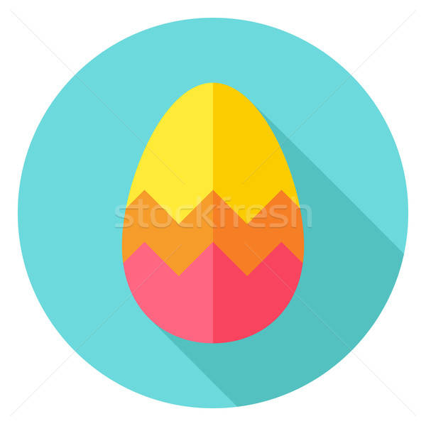 Easter egg zikzak daire ikon dizayn Stok fotoğraf © Anna_leni