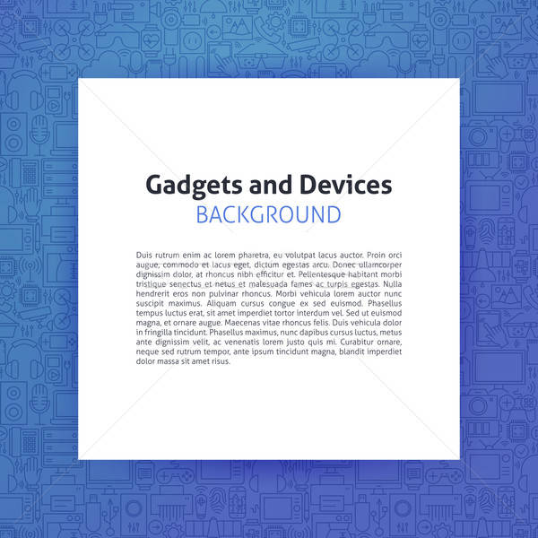 Paper over Gadgets and Devices Line Art Background Stock photo © Anna_leni
