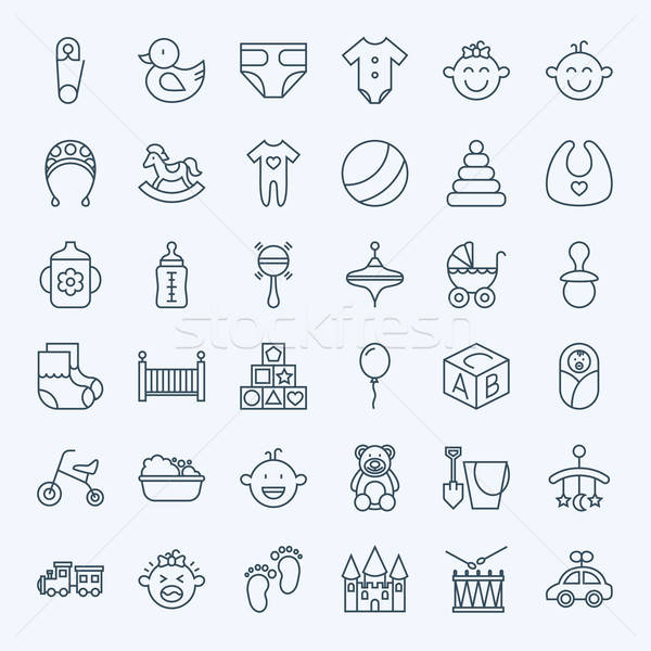 Stock photo: Line Baby Child and Toys Icons Set