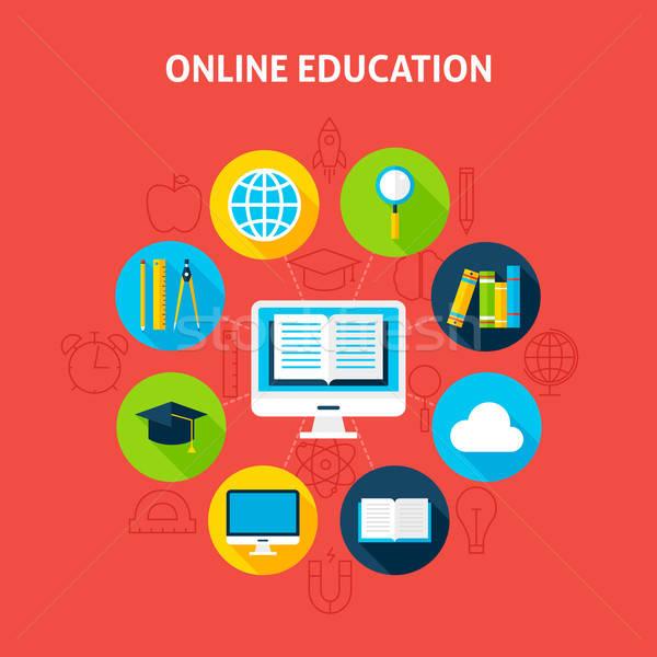 Online Education Infographic Concept Stock photo © Anna_leni
