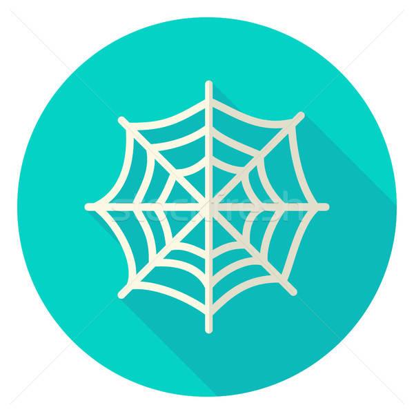 Pókháló kör ikon terv hosszú árnyék Stock fotó © Anna_leni