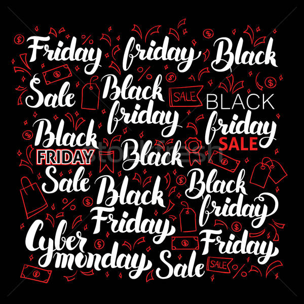 Black friday caligrafia conjunto compras venda negócio Foto stock © Anna_leni