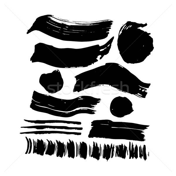 Hand Drawn Ink Brush Strokes Stock photo © Anna_leni