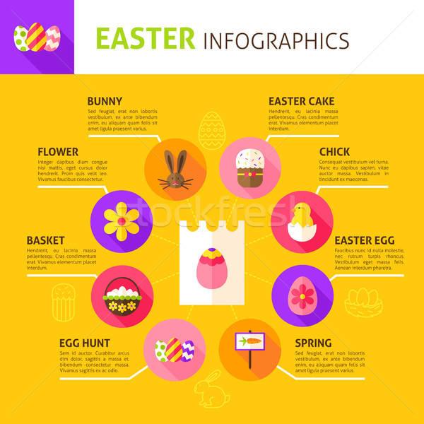 Kellemes húsvétot infografika terv tavasz ünnep húsvét Stock fotó © Anna_leni