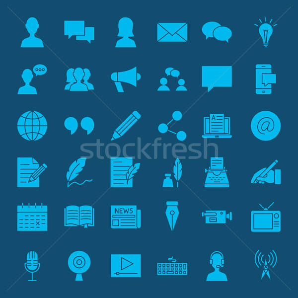 Блог веб-иконы вектора набор бизнеса Сток-фото © Anna_leni