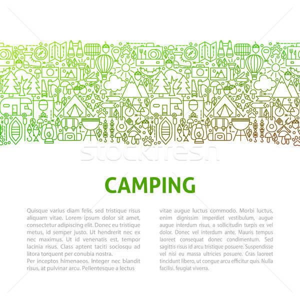 Foto stock: Camping · linha · modelo · de · design · bandeira · comida