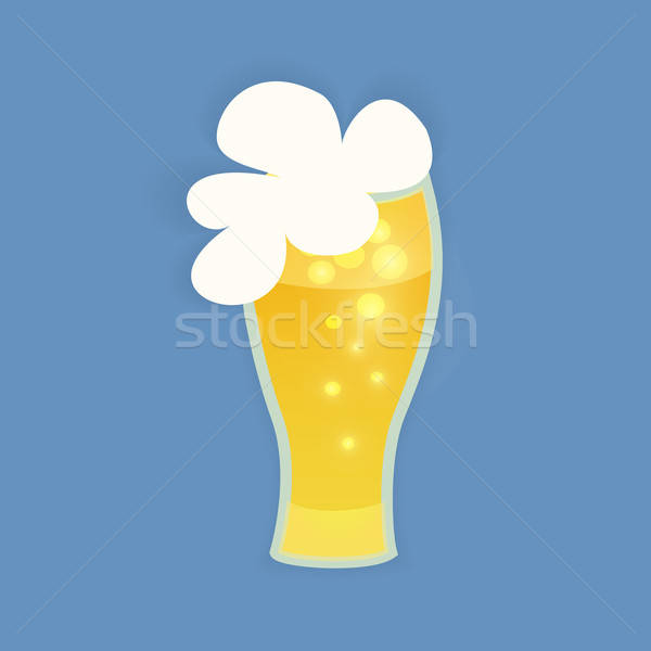 St Patrick Day beer glass on a blue Stock photo © Anna_leni