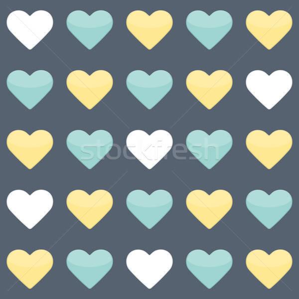 Amarelo de branco corações azul Foto stock © Anna_leni