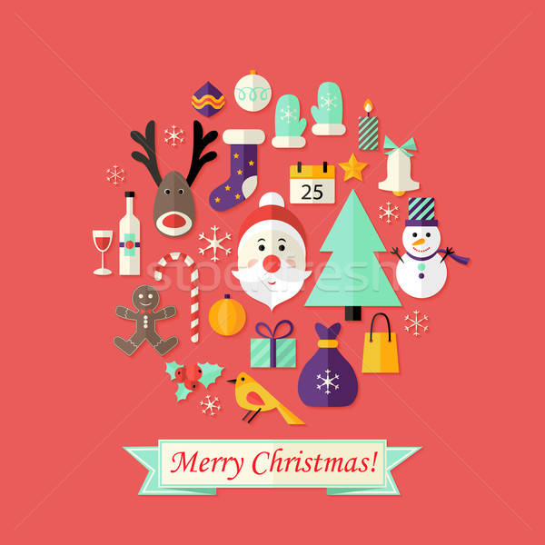 Christmas Card with Flat Icons Set and Santa Claus Red Stock photo © Anna_leni