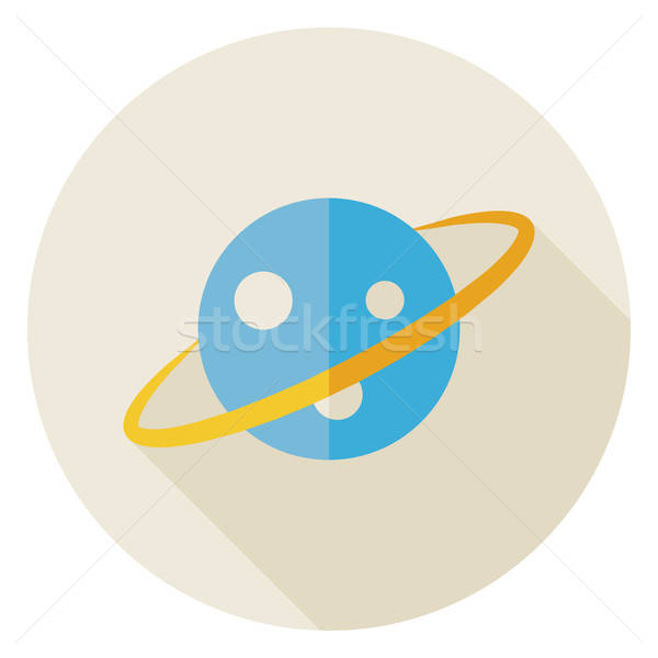 Nauki astronomia przestrzeni planety kółko ikona Zdjęcia stock © Anna_leni
