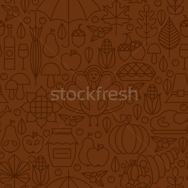 Stock photo: Thin Line Holiday Thanksgiving Day Brown Seamless Pattern