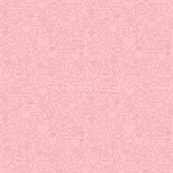Léger ligne saint valentin rose vecteur Photo stock © Anna_leni