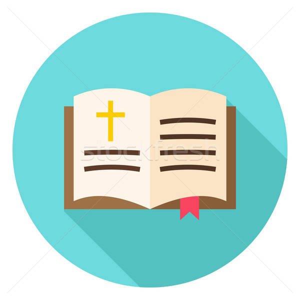 Open Christian Bible Book with Bookmark and Cross Circle Icon Stock photo © Anna_leni