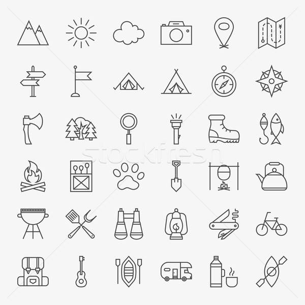 Hiking and Outdoor Line Icons Set Stock photo © Anna_leni
