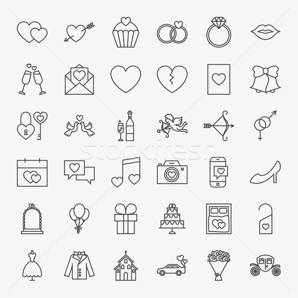 Stockfoto: Bruiloft · lijn · vector · collectie · moderne