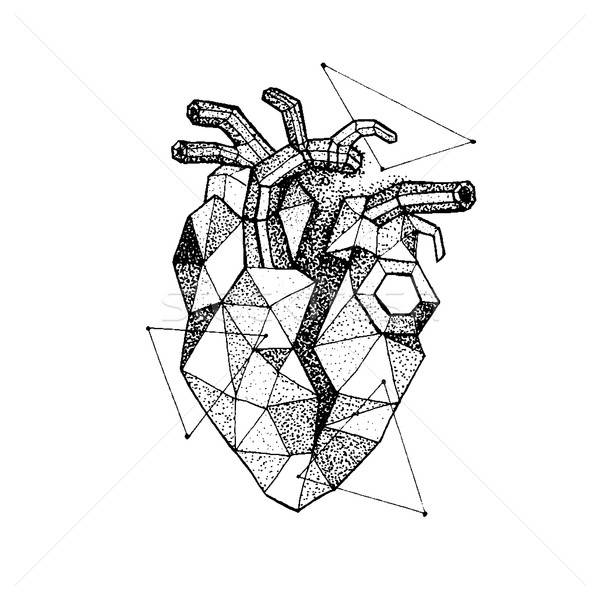 Dotwork Polygonal Broken Heart Stock photo © Anna_leni