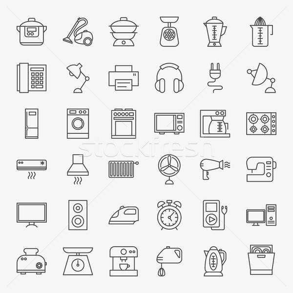 Household Line Icons Stock photo © Anna_leni