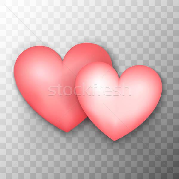 Kettő rózsaszín szívek átlátszó valósághű szeretet Stock fotó © Anna_leni