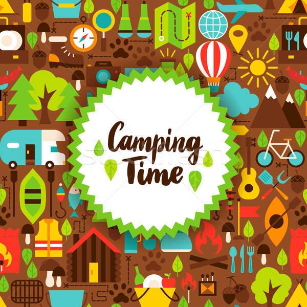 Flat Camping Time Postcard Stock photo © Anna_leni