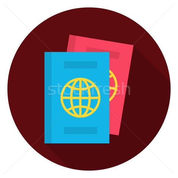 Passeport documents cercle icône stylisé longtemps Photo stock © Anna_leni
