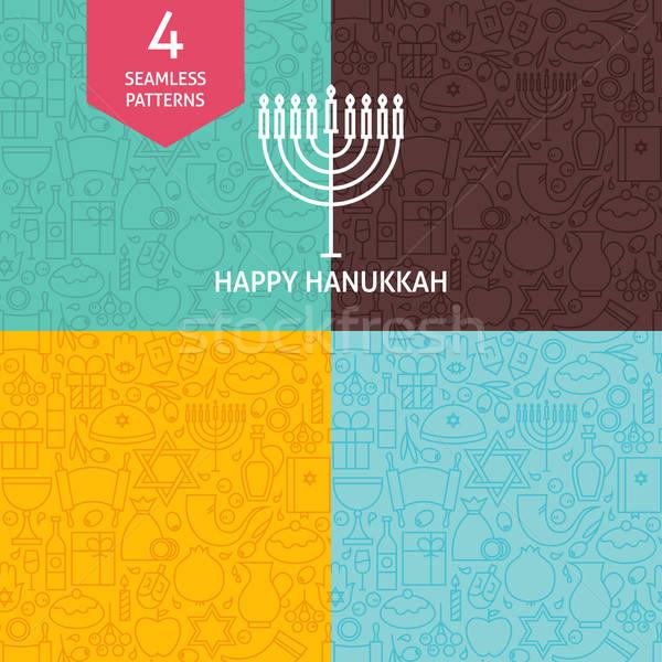 Thin Line Happy Hanukkah Holiday Patterns Set Stock photo © Anna_leni