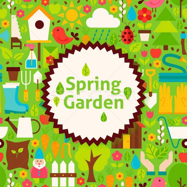 Vektör bahar bahçe yeşil poster kartpostal Stok fotoğraf © Anna_leni